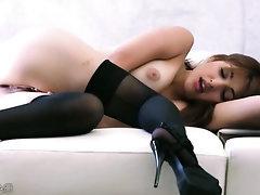 Asian, Ebony, Stockings, Masturbation